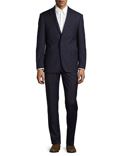 Michael Kors Fine Grid Wool Suit-BLUE-42 Tall