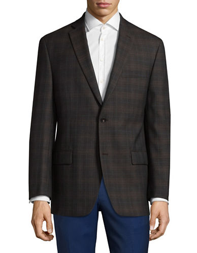 Michael Michael Kors Checkered Wool Sports Jacket-BROWN-42 Regular