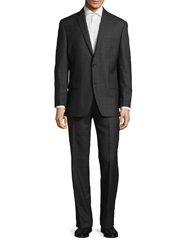 Michael Michael Kors Crosshatch Two-Button Wool Suit-GREY-42 Short