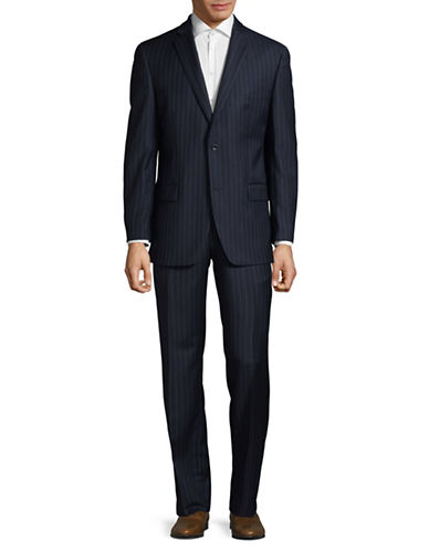 Michael Michael Kors Crosshatch Two-Button Wool Suit-BLUE-36 Regular