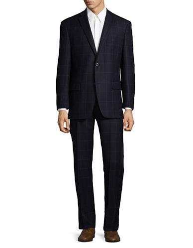 Michael Michael Kors Grid Wool Suit-BLUE-36 Regular