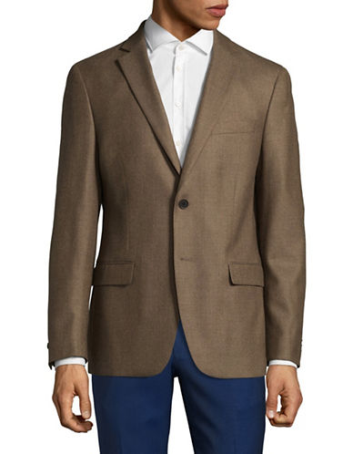 Michael Michael Kors Plaid Wool Sports Jacket-BROWN-40 Short
