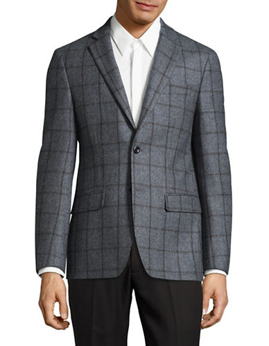 Michael Michael Kors Plaid Wool Sports Jacket-GREY-44 Regular