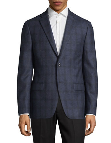 Michael Michael Kors Plaid Two-Button Wool Sports Jacket-BLUE-42 Regular