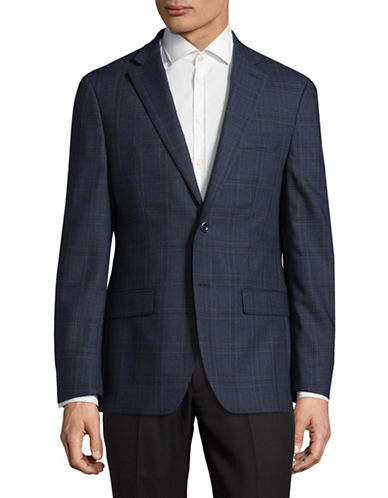 Michael Michael Kors Plaid Wool Sports Jacket-BLUE/RED-42 Tall