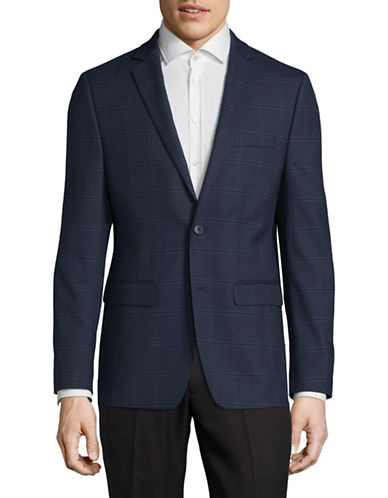 1670 Classic Plaid Suit Jacket-NAVY-38 Short