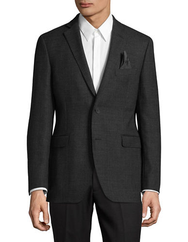 Black Brown 1826 Checked Wool Sports Jacket-GREY-42 Regular