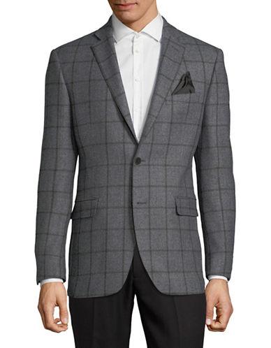 Black Brown 1826 Windowpane Wool Jacket-GREY-42 Regular
