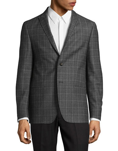 John Varvatos Star U.S.A. Check Wool Suit Jacket-CHARCOAL-44 Tall