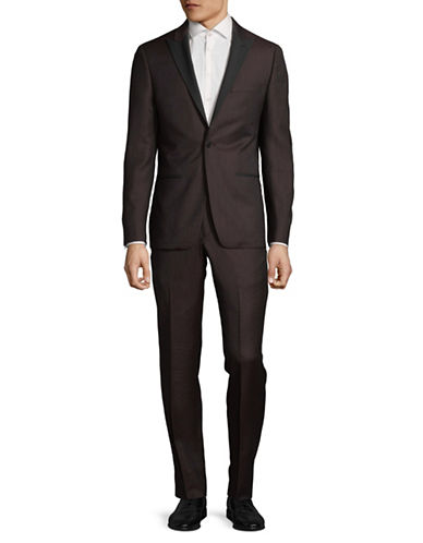 John Varvatos Star U.S.A. Peak Lapel Wool Suit-RED-42 Tall