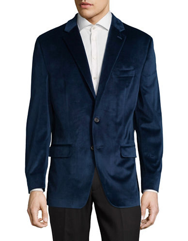 Lauren Ralph Lauren Notch Lapel Velvet Suit Jacket-BLUE-42 Regular