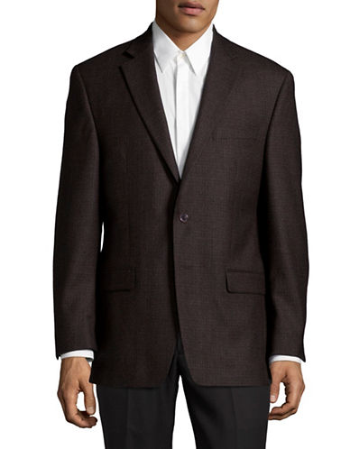 Lauren Ralph Lauren Houndstooth Ultra Flex Wool Sports Jacket-BROWN-44 Regular