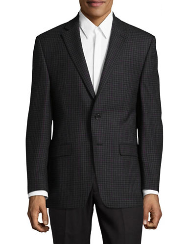 Lauren Ralph Lauren Ultraflex Wool Plaid Sport Jacket-GREY-42 Tall