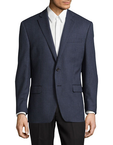 Lauren Ralph Lauren Ultraflex Wool Plaid Sport Jacket-BLUE/GREY-44 Tall