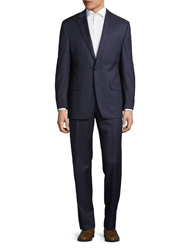 Lauren Ralph Lauren Ultra Flex Textured Wool Suit-BLUE-42 Regular
