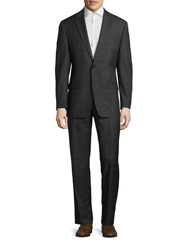Lauren Ralph Lauren Ultra Flex Windowpane Check Wool Suit-GREY-40 Short