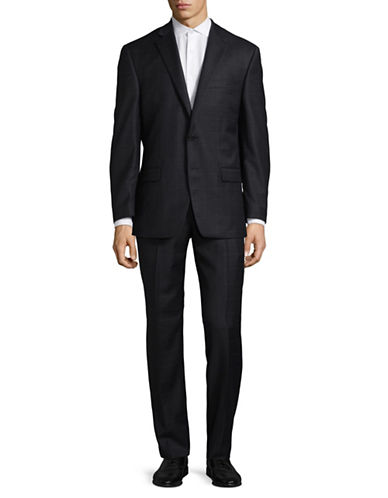 Lauren Ralph Lauren Ultraflex Windowpane Plaid Wool Suit-DARK GREY-40 Short