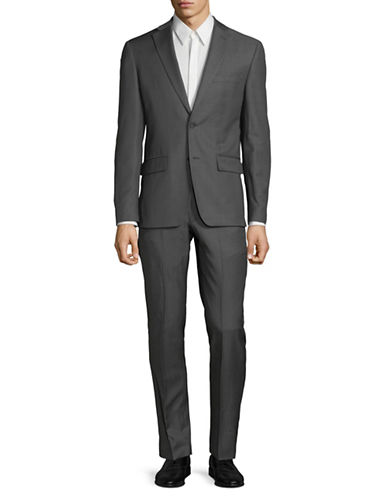 Dkny Slim-Fit Classic Wool Suit-SILVER-44 Short