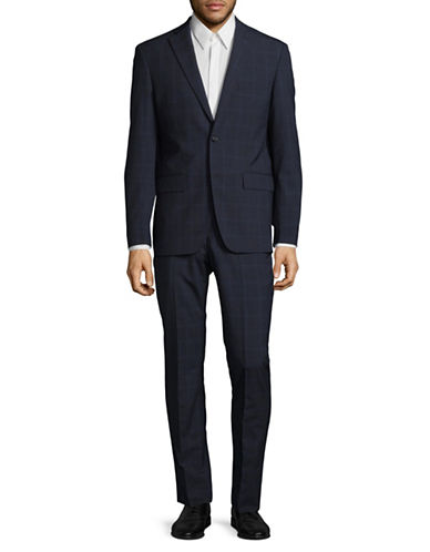 Dkny Slim-Fit Windowpane Wool Suit-BLUE-44 Tall