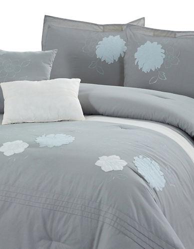 Bellisimo Flora Five Piece Comforter Set-GREY-Queen