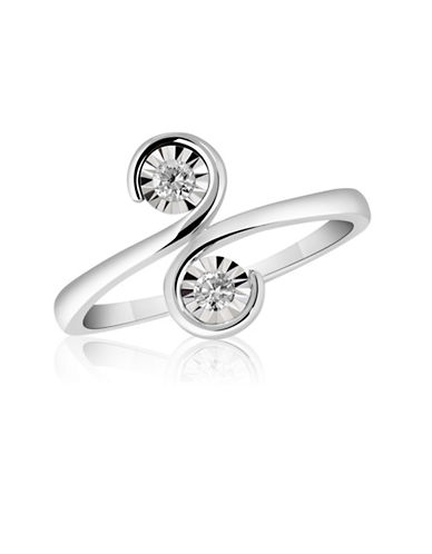 Fine Jewellery 14K White Gold and 0.10TCW Diamond Swirl Ring-DIAMOND-7