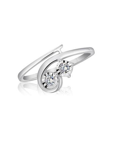 Fine Jewellery 14K White Gold and 0.10TCW Diamond Wrap Ring-DIAMOND-7