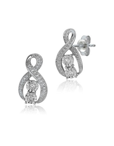 Fine Jewellery 14K White Gold and 0.10TCW Diamond Ribbon Earrings-DIAMOND-One Size