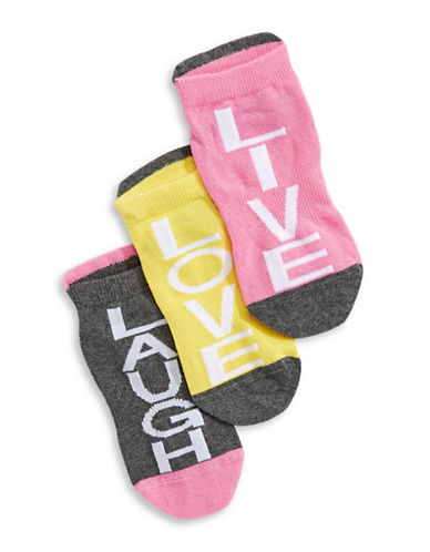 Carly And Charley Single Sox Live Love Laugh Three-Piece Sock Pack-PINK-One Size
