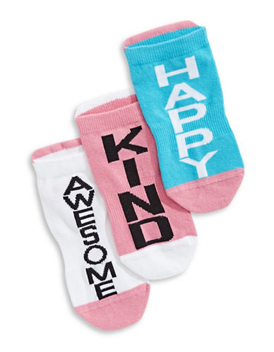 Carly And Charley Single Sox Kind Happy Awesome Three-Piece Sock Pack-BLUE-One Size