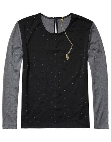 Maison Scotch Combo Long Sleeve T-Shirt-GREY-X-Small 87864651_GREY_X-Small