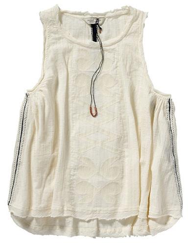 Maison Scotch Embroidered Sleeveless Blouse-WHITE-X-Small