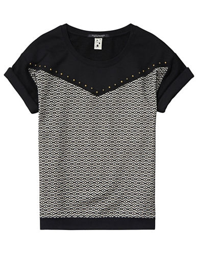 Maison Scotch Combo Crew Neck Tee-BLACK-X-Small