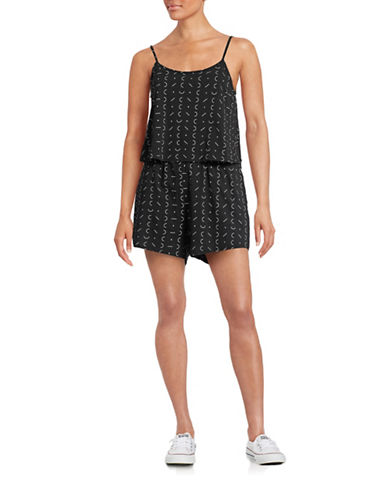 Bench Letter Printed Sleeveless Romper-BLACK-X-Small