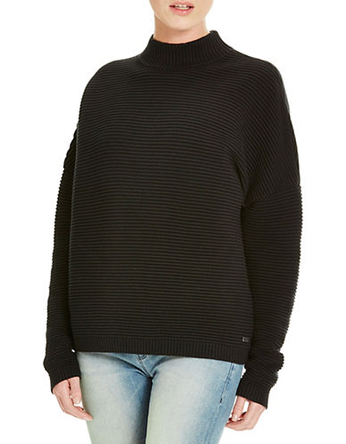Bench Wonderland Mock Neck Ribbed Sweater-BLACK-X-Small 88519611_BLACK_X-Small