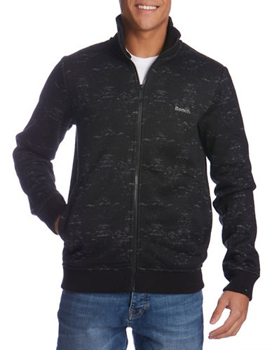 Bench Printed Funnel Neck Zip-Front Jacket-BLACK-X-Large 88665949_BLACK_X-Large