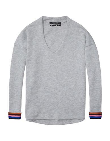 Maison Scotch V-Neck Sweatshirt-GREY-Large 88724399_GREY_Large