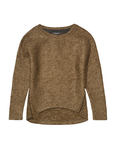Maison Scotch Fluffy Boucle Wool-Blend Sweatshirt-GREEN-Small