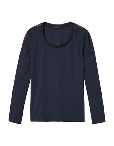 Maison Scotch Sport Stripe Long Sleeve Top-BLUE-Small 88724377_BLUE_Small