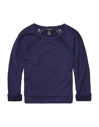 Maison Scotch Long Sleeve Cut-Out Sweater-NAVY-Medium