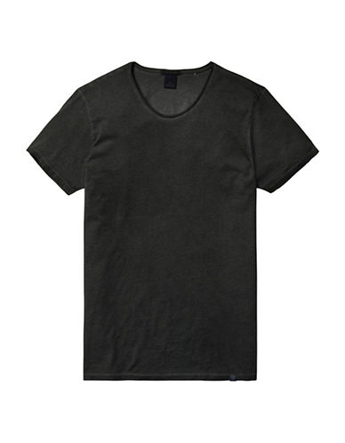 Scotch And Soda Oil Washed Scoop Neck T-Shirt-DARK GREY-Medium 88704876_DARK GREY_Medium