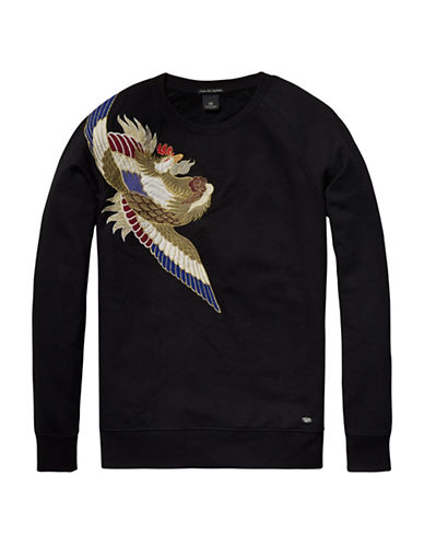 Scotch And Soda Embroidered Shoulder Applique Pullover-BLACK-Small 88727621_BLACK_Small
