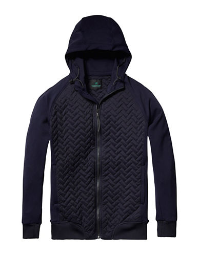 Scotch And Soda Quilted Stretch Hoodie-BLACK-X-Large 88943846_BLACK_X-Large