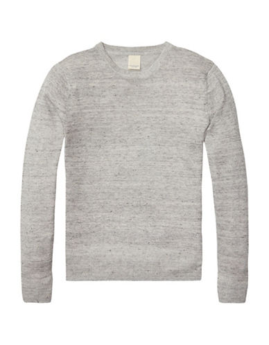 Scotch And Soda Home Alone Crew Neck Cotton-Linen Sweater-GREY-Medium 89029378_GREY_Medium
