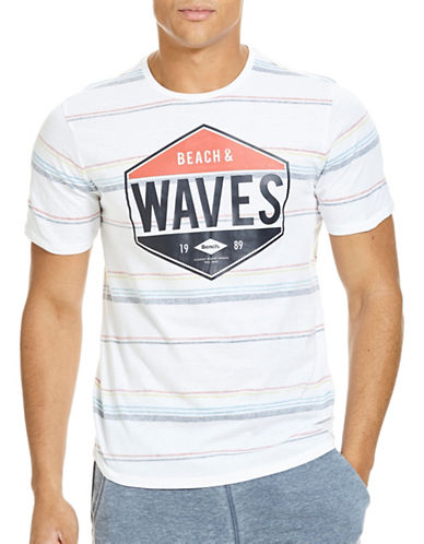Bench Graphic Printed Striped Tee-WHITE-Large