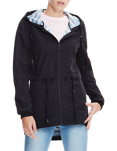 Bench Hi-Lo Perforated Hooded Coat-BLACK BETTY-X-Small 89040978_BLACK BETTY_X-Small