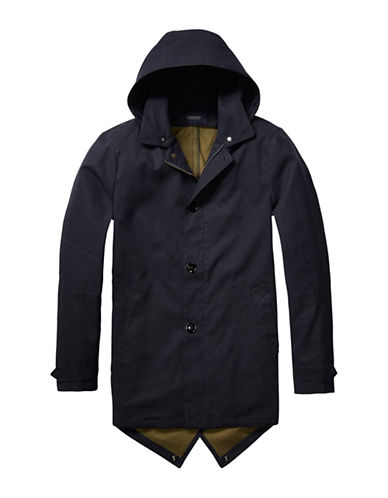 Scotch And Soda Solid Trench Coat-BLACK-XX-Large 89029444_BLACK_XX-Large