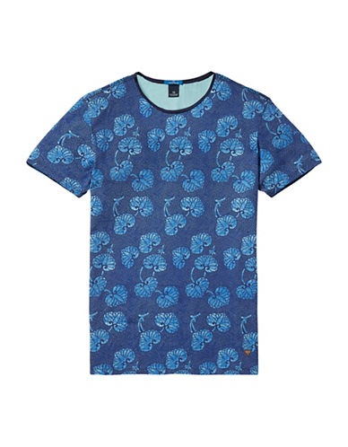 Scotch And Soda Graphic Printed T-Shirt-BLUE-Large 89029476_BLUE_Large