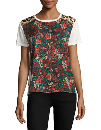 Maison Scotch Mixed-Panel Crochet-Trim Tee-RED-Medium