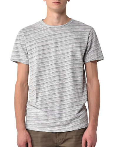 Esprit Striped Crew Neck T-shirt-WHITE-Large 89066983_WHITE_Large