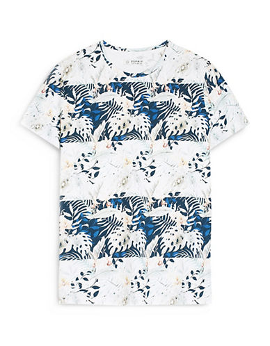 Esprit Leaf-Print Cotton Jersey T-Shirt-BLUE-X-Large